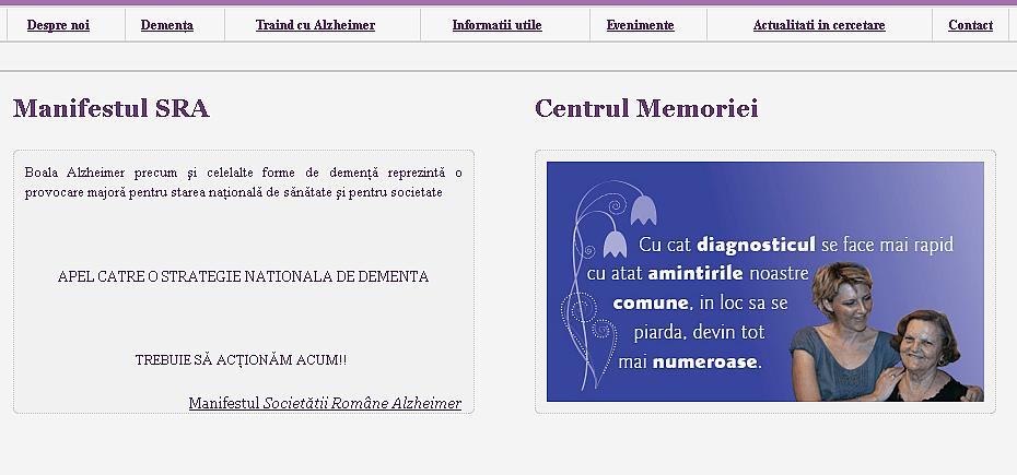 Creare site prezentare Societatea Romana Alzheimer