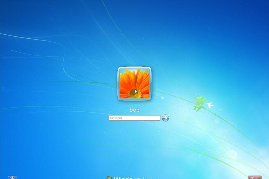 Ecranul de login Windows 7
