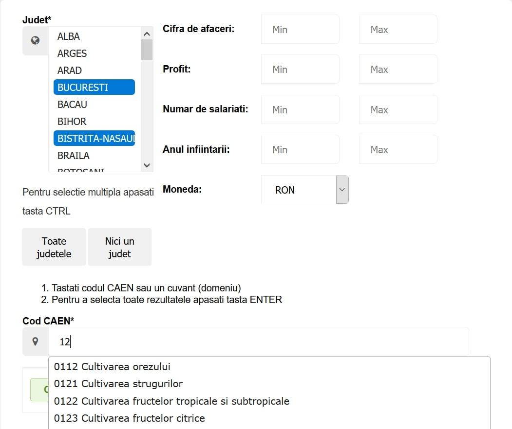 Dezvoltare interfata interogare coduri CAEN - Client Solutions