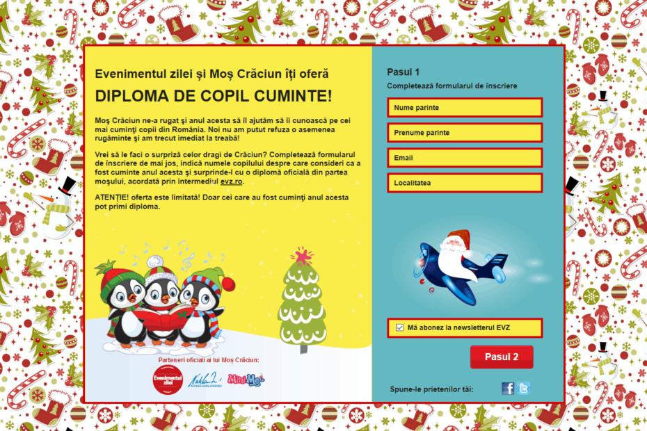 Dezvoltare site custom Evz Diploma de copil cuminte 2018