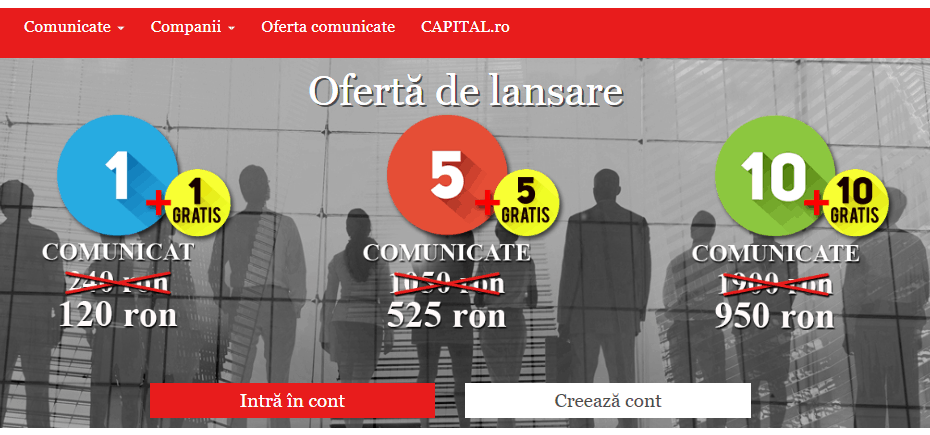 Creare platforma custom Capital Comunicate online - Sector web