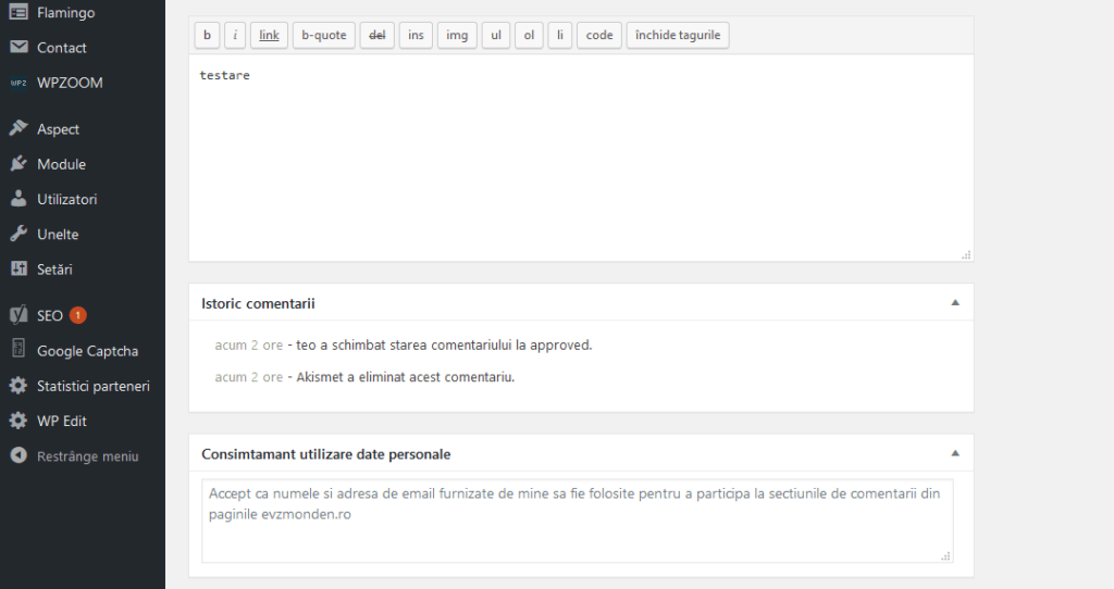 DGPR Prelucrare date personale in formularul de comentarii WordPress