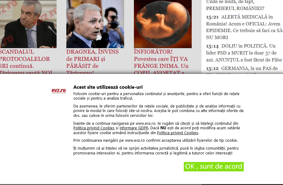 DGPR - evz.ro. Implementare solutie DGPR pe site-ul web evz.ro. Sectorweb.ro