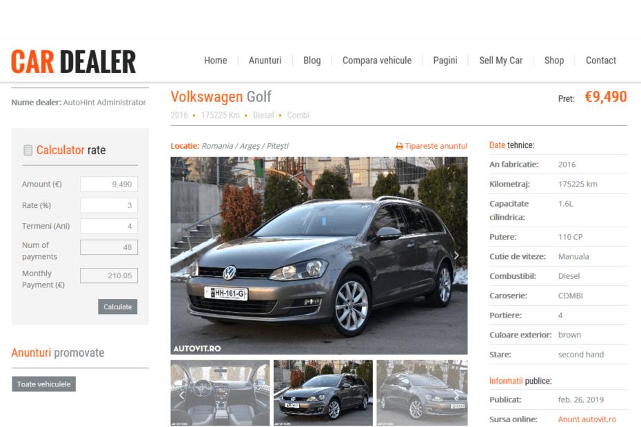 Web scraping - Alimentare scontinut site web cu anunturi auto
