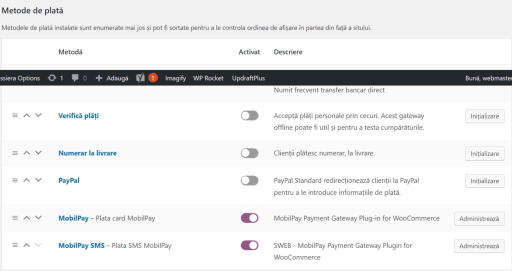 Plugin WordPress de plata SMS online prin Mobilpay SWEB
