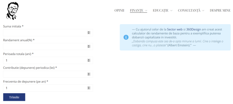 Dezvoltare modul custom WordPress Calculator randamente